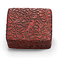 A carved cinnabar lacquer 'Swallow and Apricot' box and cover, Ming dynasty, <b>16th</b> <b>century</b>