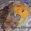 Côtes d'agneau au romarin et purée de patate douce