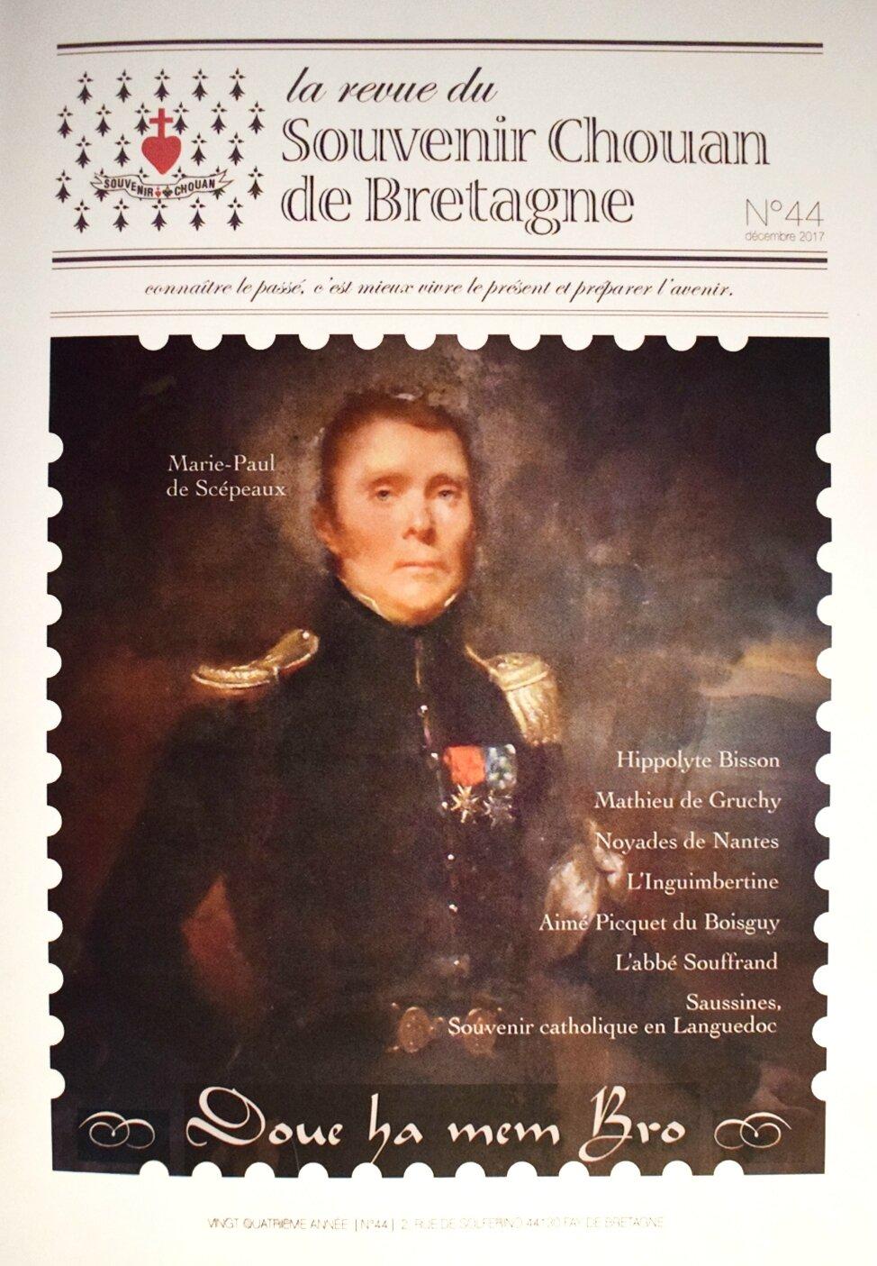 Scépeaux fait la une de la Revue du Souvenir Chouan de Bretagne