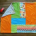 Couverture patchwork bébé moustaches chevrons voitures etoiles multicolores