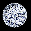 A magnificent and extremely rare blue and white <b>barbed</b> <b>dish</b>, Yongle period