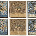 A group of three embroidered mandarin square sets including two <b>military</b> <b>rank</b> <b>badges</b> and one civilian, China, 19th century