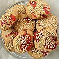 Cookies aux fraises sechees et au sesame