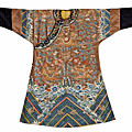 A <b>brown</b> silk ground embroidered dragon <b>robe</b>. Late Qing dynasty