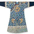 A blue ground kesi dragon robe, mangpao, <b>Qianlong</b> <b>period</b> (1736-1795)