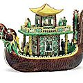 A biscuit-glazed <b>dragon</b>-<b>boat</b>, Kangxi period (1662-1722)