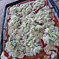Tarte pizza totale impro bacon courgettes cheddar