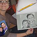 Portrait professionnel photo d'enfants dessiné aux pastels- réception du cadeau d'anniversaire