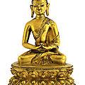 A <b>Tibetan</b> gilt bronze Shakyamuni Buddha, 15th century