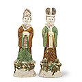 A large pair of 'sancai'-glazed figures of officials, Tang dynasty (<b>618</b>-<b>907</b>)