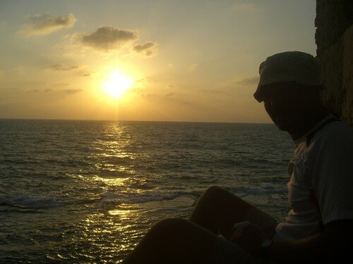 Coucher de soleil face la Mediterranee avec Jens, Akko