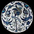 """Peacock dish. Turkey, """"Iznik"""", c. <b>1550</b>."""