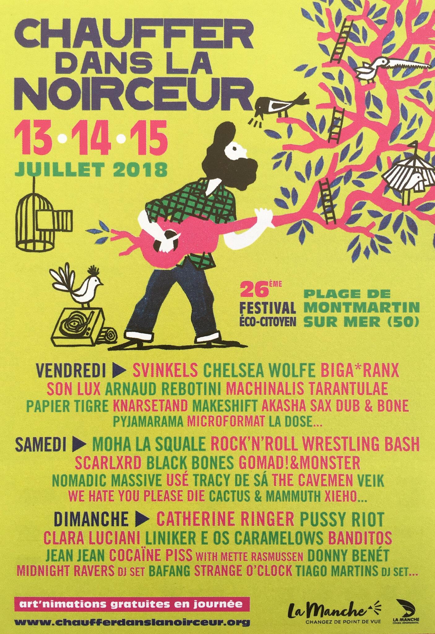 SVINKELS, PUSSY RIOT, CATHERINE RINGER, CLARA LUCIANI, MOHA LA SQUALE, .. à l'affiche du festival Chauffer dans la Noirceur 2018