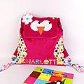 Sac à dos hibou maternelle fille personnalisable couleurs prénom Charlotte sac bébé crèche école maternelle toddler backpack with name owl