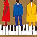 Trio jazzant sur piano