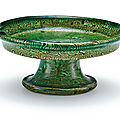 A small marbled green-glazed tazza, <b>Six</b> <b>Dynasties</b> (<b>220</b>-<b>589</b>)