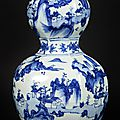 Blue-and-white hexagonal vase in double-gourd form, Ming dynasty, Tianqi Period, 1600-1625