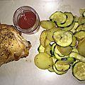 Poulet et ses courgettes/pommes de terre au basilic à l'actifry