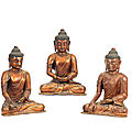 A rare set of three <b>gilt</b>-<b>lacquered</b> wood figures of the Buddha, 17th-18th century