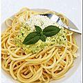 Spaghettis au pesto de courgettes, sésame et pignons