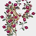 Femme aux roses grille gratuite
