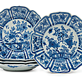 A group of five blue and white foliate-rimmed dishes, china, kangxi period (1662-1722)