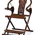 Chinese huanghuali and mixed hardwood folding <b>horseshoe</b>-<b>back</b> <b>chair</b>