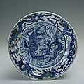 Blue-and-white plate with the design of dragons, Chenghua period (1465-1487)