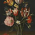 Jacob van hulsdonck (antwerp 1582 – 1647), still life of tulips, carnations, a rose and other flowers in a glass beaker...