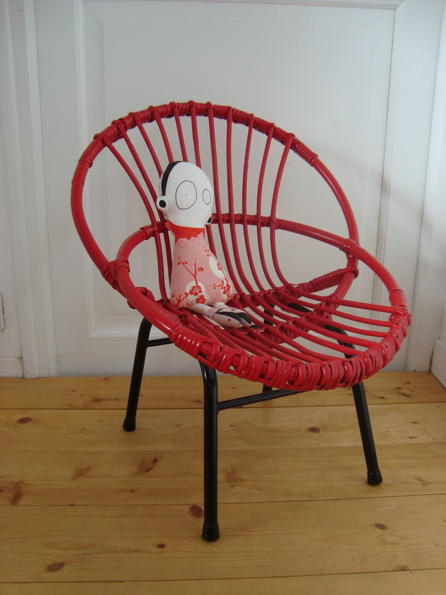 Fauteuil enfant rotin rouge lobster