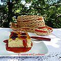 Gâteau de semoule framboises/amandes/eau de rose