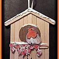 Tuto décoration de noël (rouge-gorge 3d sur son nichoir)
