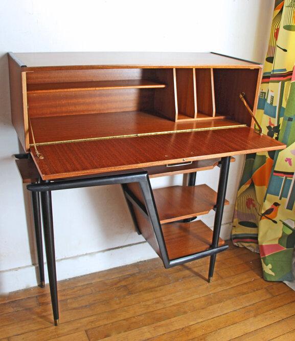 meuble-d'entree-secretaire-teck-vintage-ouvert