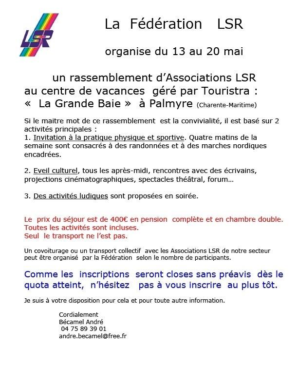 Palmyre c'est en Charente maritime et avec la fédération LSR !