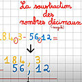 Maths : La <b>soustraction</b> de nombres décimaux en calcul écrit