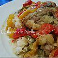 Mijoté de dinde, poivrons tricolores, crème de soja, moutarde et estragon