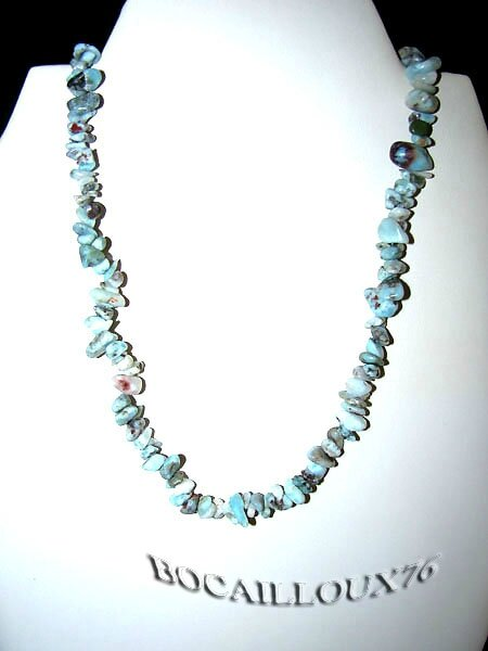 COLLIER LARIMAR 1 - ATTACHE MOUSQUETON ARGENTE