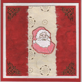 carte de Noel rouge avec un pere noel