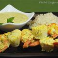 Brochettes de saint-jacques et crevettes au curry vert