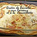 <b>Gratin</b> de ravioles aux poireaux et à la cancoillotte