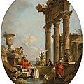 Francesco Guardi (Venice 1712 - 1793), An architectural <b>capriccio</b> with figures amongst classical ruins, a temple beyond