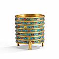 A rare <b>gilt</b>-<b>bronze</b> <b>and</b> <b>cloisonné</b> <b>enamel</b> ribbed incense burner, Late Ming Dynasty