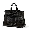 Hermès paris made france. sac birkin 35 cm en crocodile porosus gris graphite