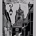 Dole - Rue de l'Hôtel-Dieu - Linogravure