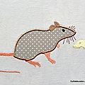 Rat des champs en appliqué