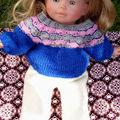 Pull jacquard et pantalon pour poupée corolle 36 cm : Vanille, L