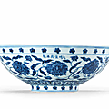 A very rare Imperial blue and white 'peony scroll' bowl, <b>Xuande</b> <b>six</b>-<b>character</b> <b>mark</b> in a line and of the period (1426-1435)