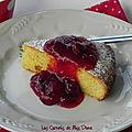 Gâteau à la polenta et compote de griottes, sans gluten