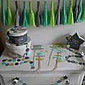 Décoration baptême fête anniversaire turquoise caraïbe, vert anis, gris, vert d'eau