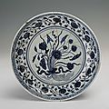 Blue-and-white plate with a handful of lotus flowers, Yongle period (1403-1424)